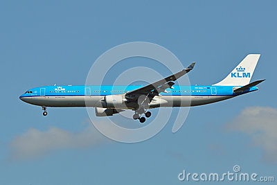 KLM Airbus A330 Landing Editorial Stock Photo