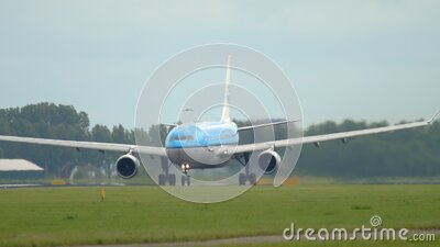 KLM Airbus A330 departure stock footage