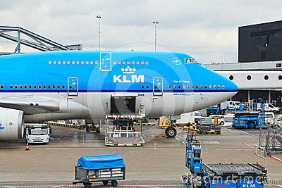 KLM plane loaded at Schiphol Editorial Stock Photo