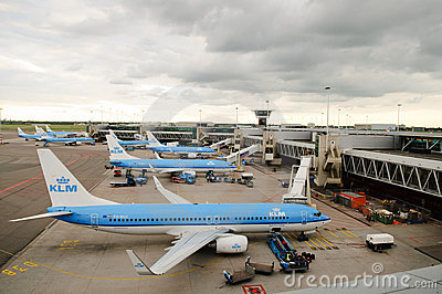 KLM planes at Schiphol  Editorial Image
