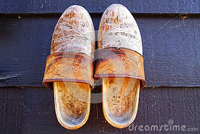 Klompens. Traditional Dutch old shoes.