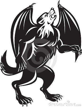 Kludde Black Wolf Dog With Bat Wings