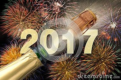 Knallende champagne bij nieuwe jarenvooravond 2017