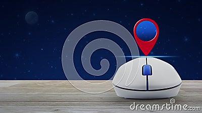 Knappen för kartnålspunkt med trådlös dators mus på träbord över fantasi, natthimmel och måne, pekare för teknikkarta stock video