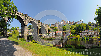Knaresborough viaduct panorama, England