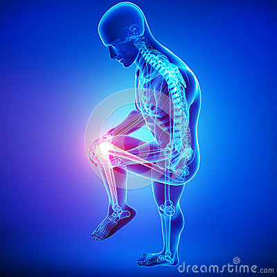 Knee pain of male in blue