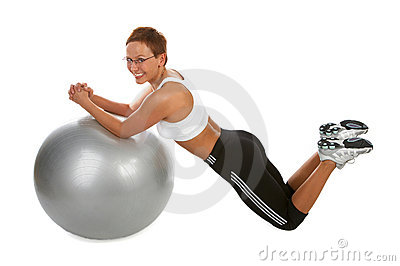 Kneeling  Ab Crunch - Young woman showing different exercises.