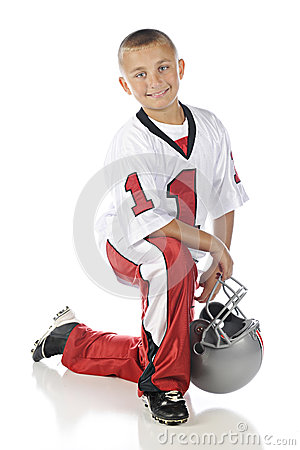 Kneeling Football Boy