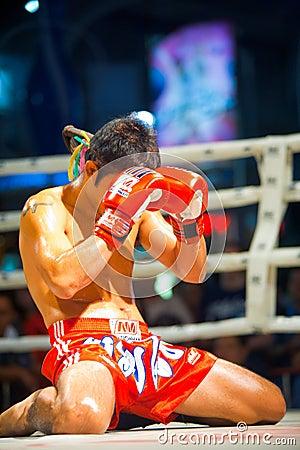 Kneeling Muay Thai Gloves Face Editorial Stock Photo