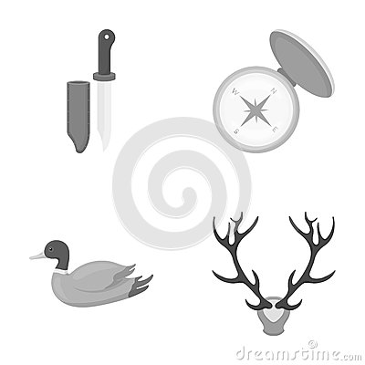Knife with a cover, a duck, a deer horn, a compass with a lid..Hunting set collection icons in monochrome style vector Vector Illustration