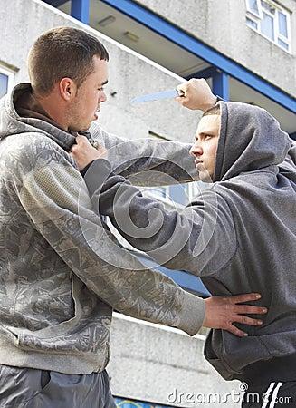 Knife Crime On Urban Street