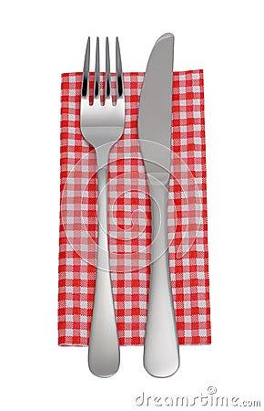 Knife, fork, napkin
