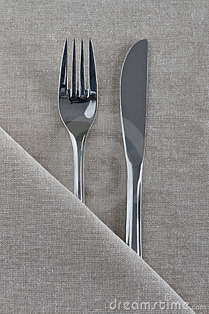 Knife and Fork on natural linen