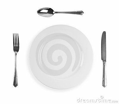 Knife, fork, plate and spoon