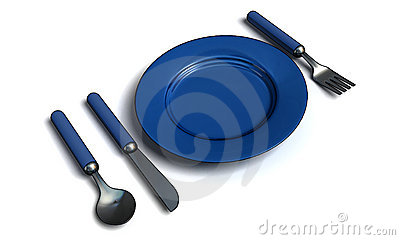Knife, fork, spoon and plate