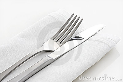 Knife and Fork on White Linen