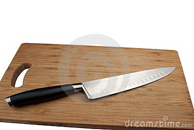 Knife for meat and cutting board