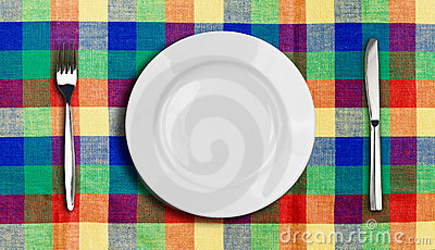 Knife plate and fork multicolor tablecloth