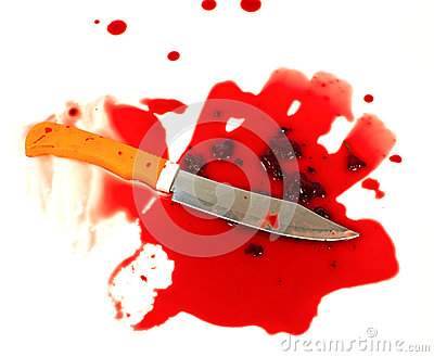 A knife smeared with blood.