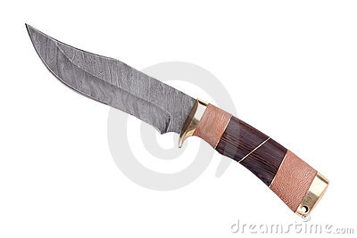 Knife with wooden handle made of Damascus st