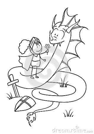 Knight and dragon outlined
