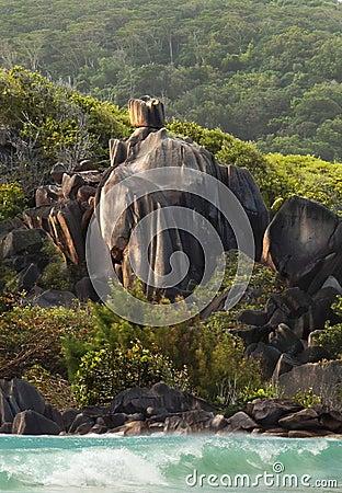 Knight Equestrian coast guard. Rocks of Seychelles