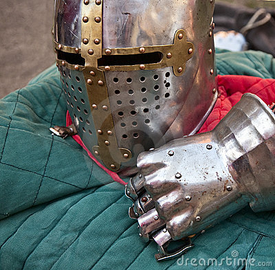 Knight helmet and glove