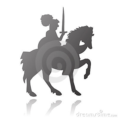Knight on horse vector silhouette