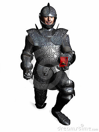 Free Knight In Armour Down On One Knee And Proposing. Stock Image - 12650691