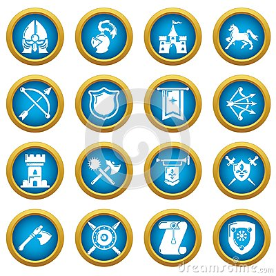 Free Knight Medieval Icons Set, Simple Style Stock Photo - 116841890
