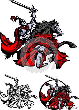 Knight Paladin with Horse Mascot Logo