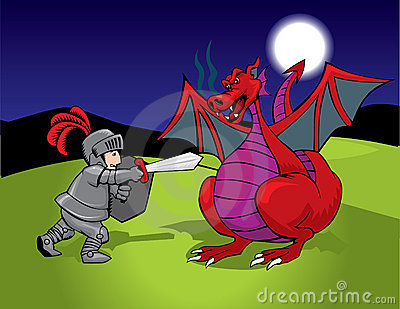 Knight and red dragon
