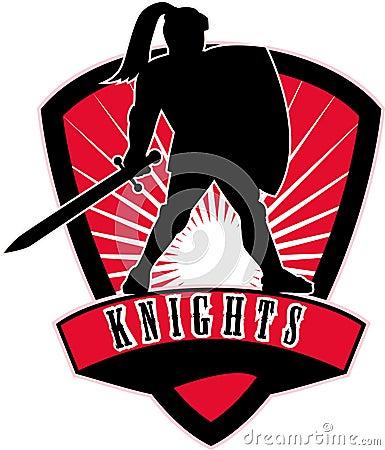 Knight silhouette sword shield