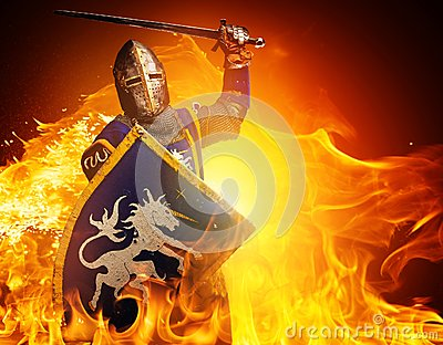 Knight with a sword in flame