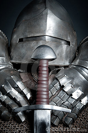 Knights armor with helmet, chain mail, gloves