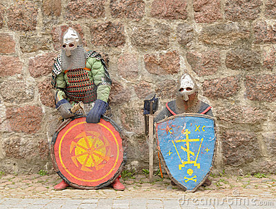 Knights in an armor and with the weapon