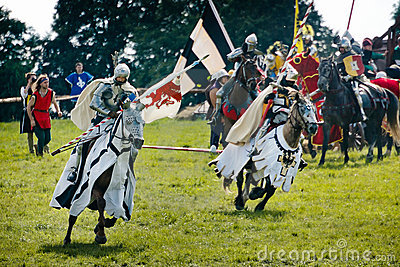 Knights charge on horses Editorial Image