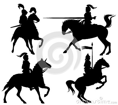 Knights vector silhouettes
