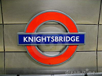 Knightsbridge Underground Station Sign London Editorial Photography