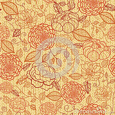 Knit embroidery flowers seamless pattern