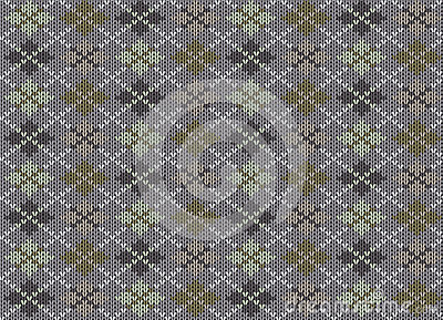 Knit texture. Gray background with ornament