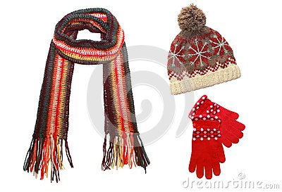 Knitted cap, scarf and gloves  isolated on  white