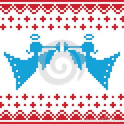 Knitted christmas  angles card on seamless b