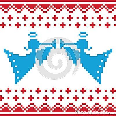 Knitted christmas  angles card on seamless b