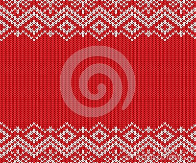 Knitted christmas red and white geometric ornament. Xmas knit winter sweater texture design. Vector Illustration