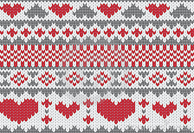 Knitted pattern vector with hearts