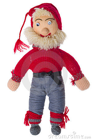 Knitted Santa Claus with a black belt and beard