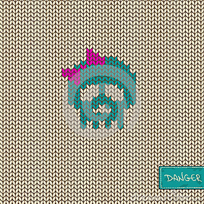 Knitted seamless pattern or background with skull