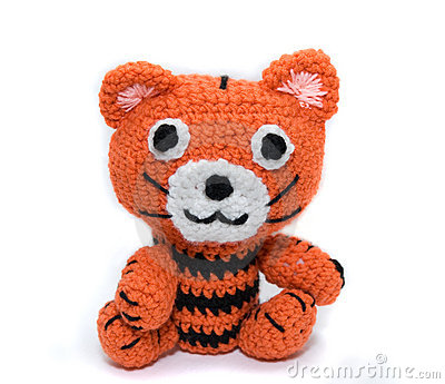 Knitted toy tiger