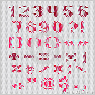 Knitted Vector Alphabet, Red Bold Sans Serif Numbers And Punctuation. Stock V...